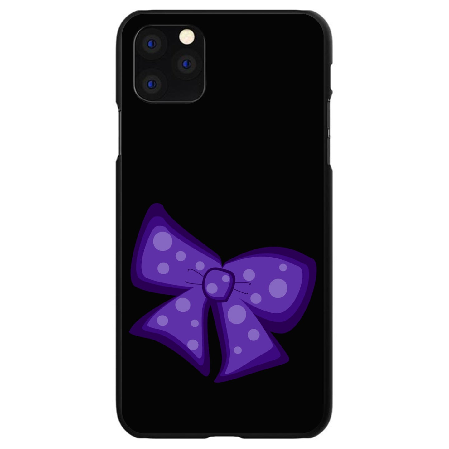 DistinctInk® Hard Plastic Snap-On Case for Apple iPhone - Purple Black Bow Ribbon