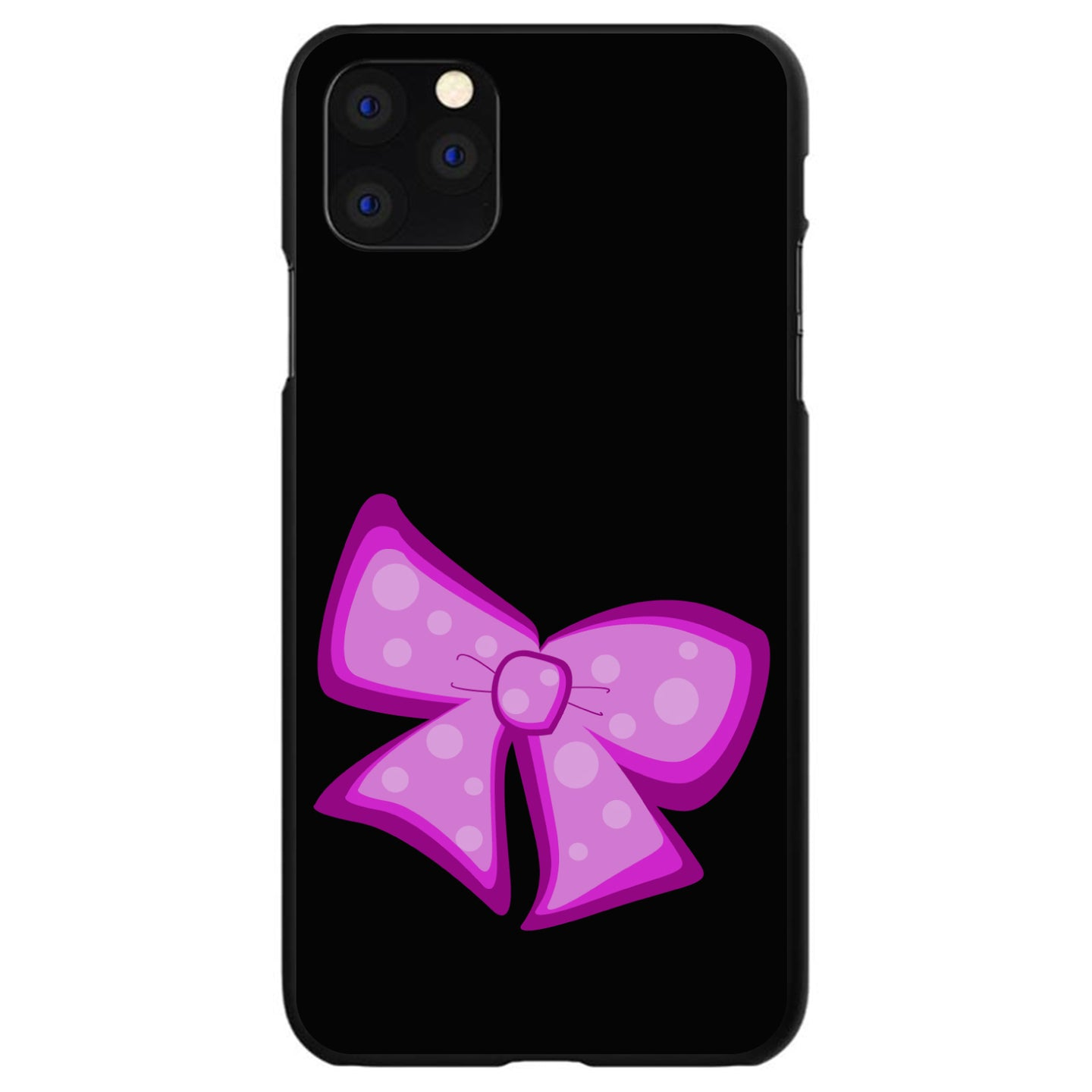 DistinctInk® Hard Plastic Snap-On Case for Apple iPhone - Pink Black Bow Ribbon
