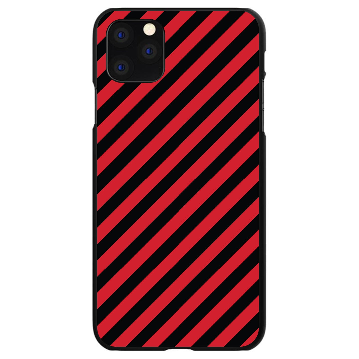 DistinctInk® Hard Plastic Snap-On Case for Apple iPhone - Black Red Diagonal Stripes