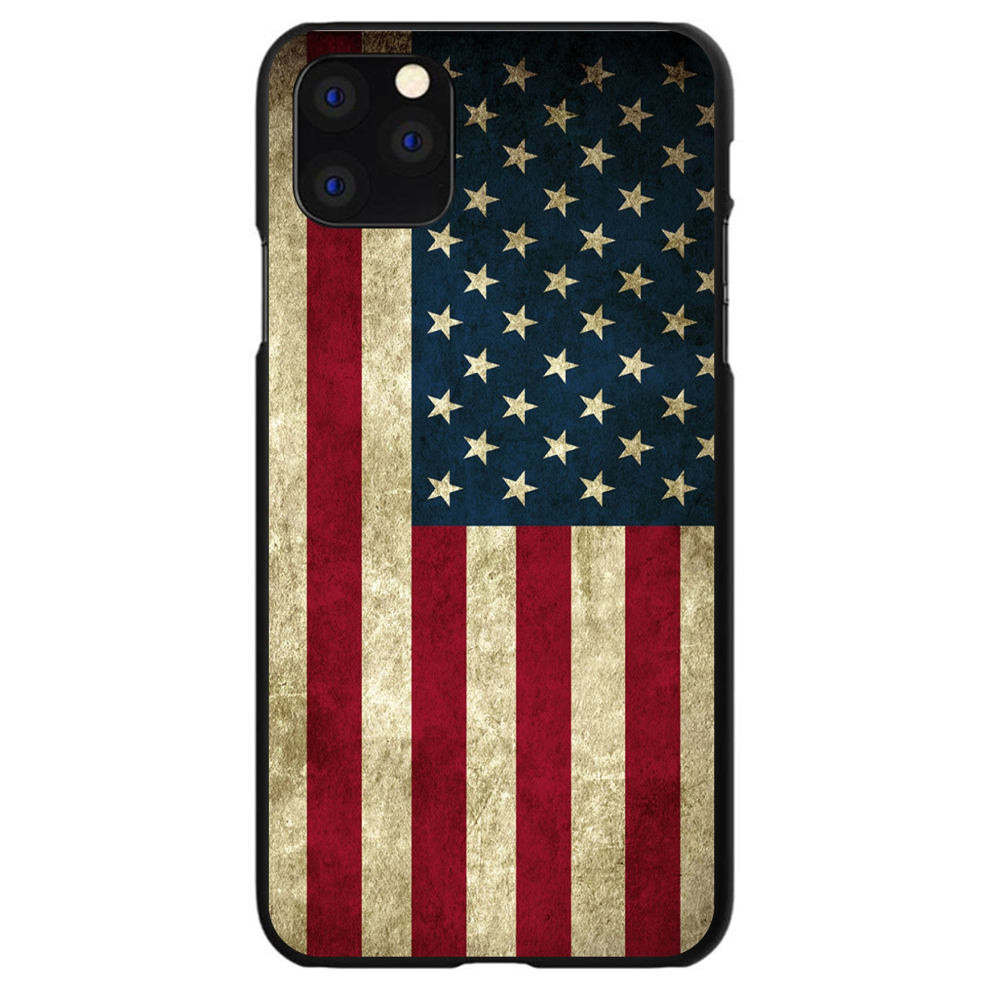 DistinctInk® Hard Plastic Snap-On Case for Apple iPhone - Red White Blue United States Flag Old