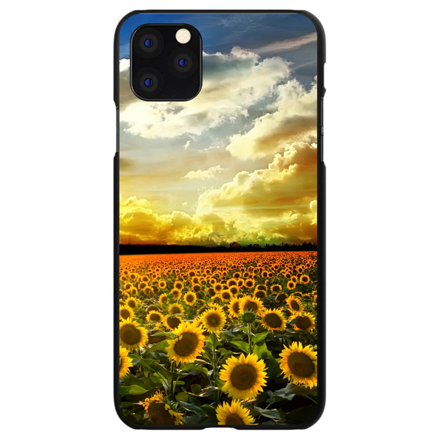 DistinctInk® Hard Plastic Snap-On Case for Apple iPhone - Green Blue Yellow Sunflowers