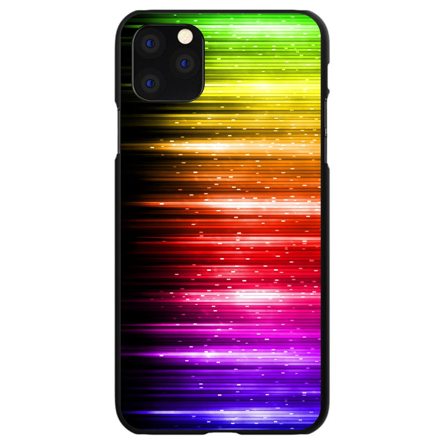 DistinctInk® Hard Plastic Snap-On Case for Apple iPhone - Rainbow Light Glowing Lines