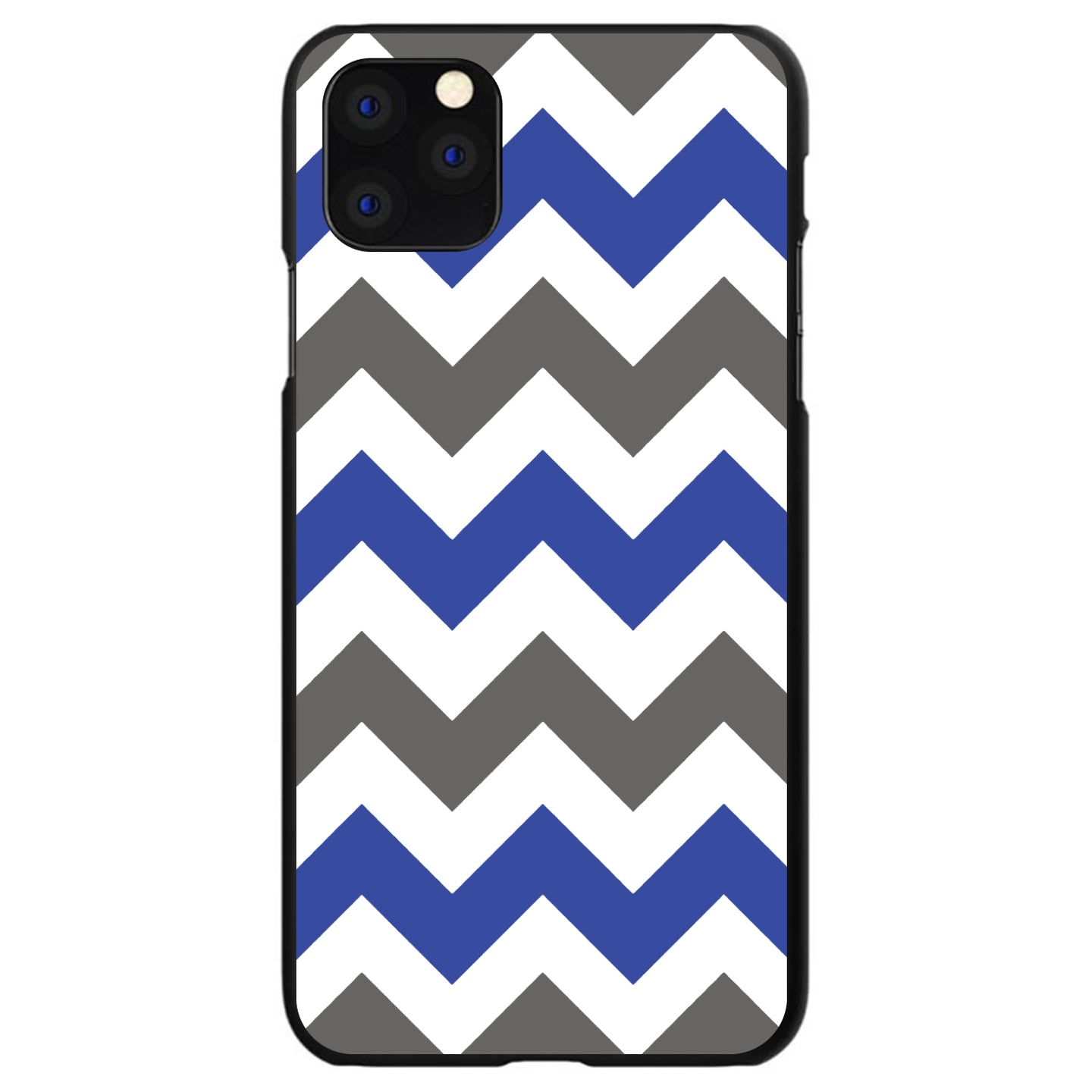 DistinctInk® Hard Plastic Snap-On Case for Apple iPhone - Blue Grey Chevron Stripes
