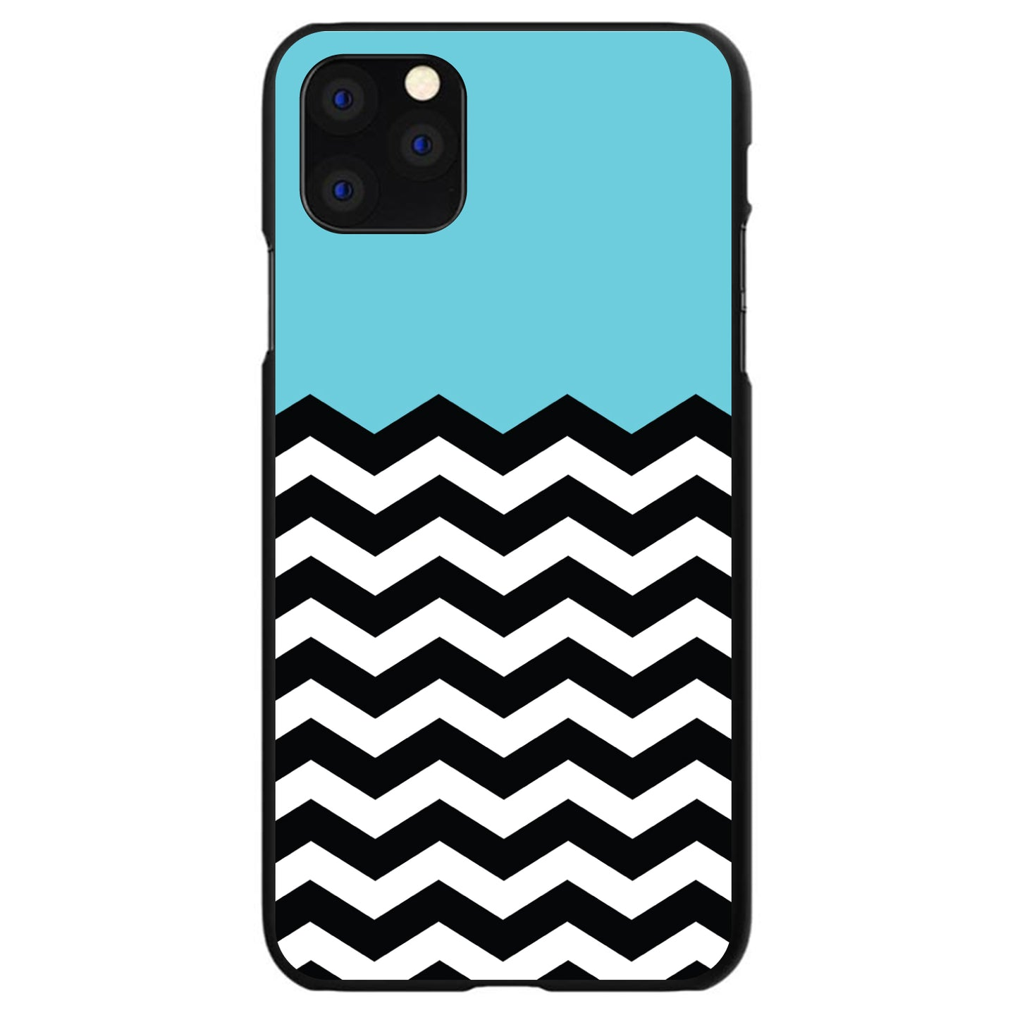 DistinctInk® Hard Plastic Snap-On Case for Apple iPhone - Black White Blue Chevron