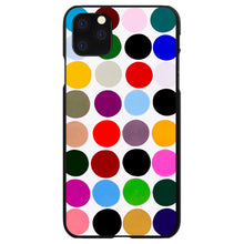 DistinctInk® Hard Plastic Snap-On Case for Apple iPhone - Rainbow Polka Dots