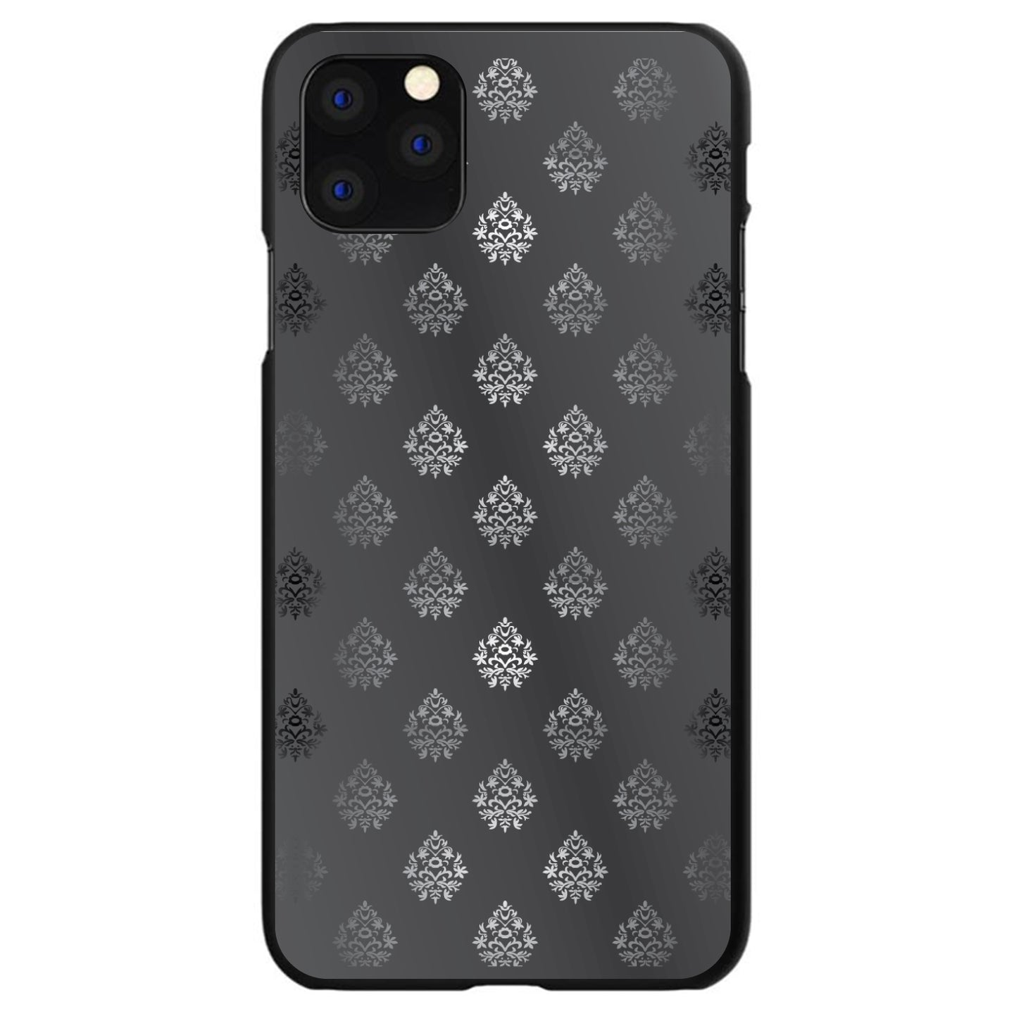DistinctInk® Hard Plastic Snap-On Case for Apple iPhone - Silver Grey Black White Damask