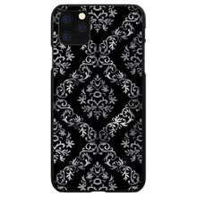 DistinctInk® Hard Plastic Snap-On Case for Apple iPhone - Black White Silver Grey Damask