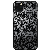 DistinctInk® Hard Plastic Snap-On Case for Apple iPhone - Silver Grey Black Damask