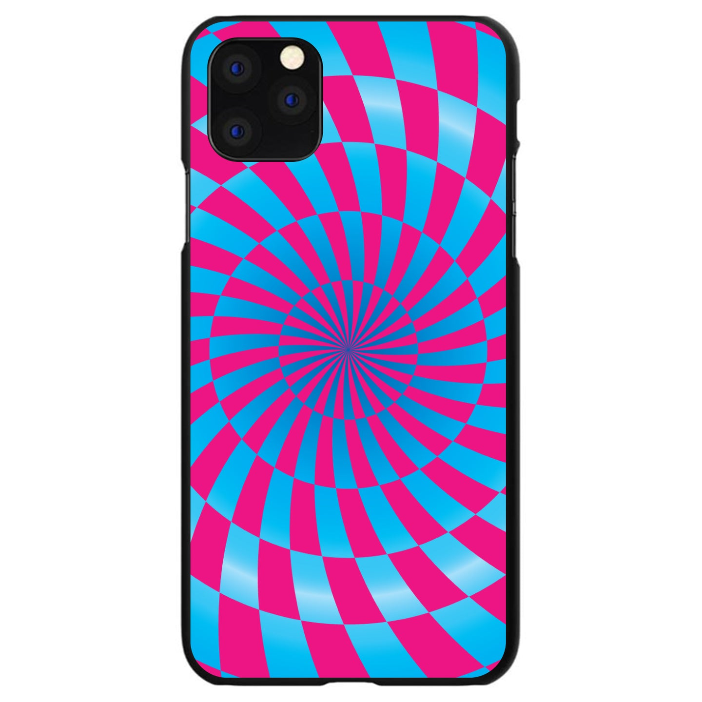 DistinctInk® Hard Plastic Snap-On Case for Apple iPhone - Blue Pink Swirl Geometric