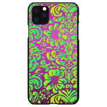DistinctInk® Hard Plastic Snap-On Case for Apple iPhone - Purple Green Floral Pattern