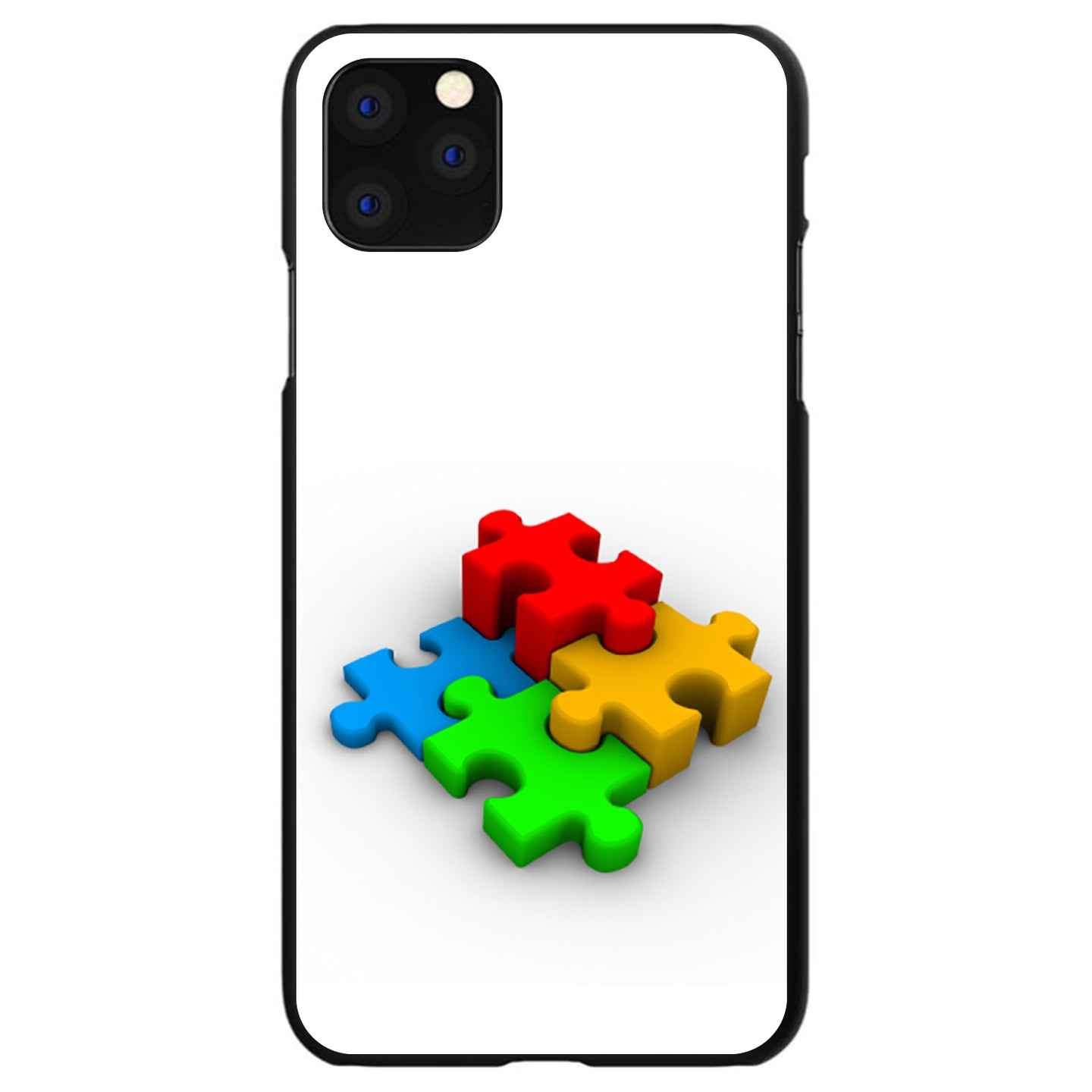 DistinctInk® Hard Plastic Snap-On Case for Apple iPhone - Red Blue Yellow 3D Puzzle Pieces