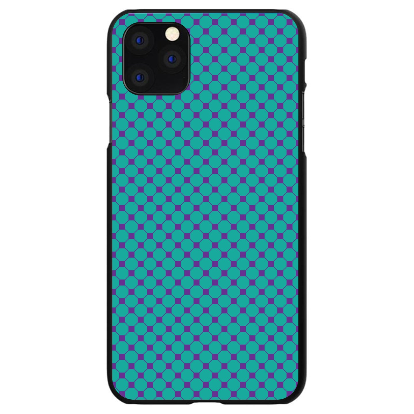 DistinctInk® Hard Plastic Snap-On Case for Apple iPhone - Teal Purple Checkered Pattern