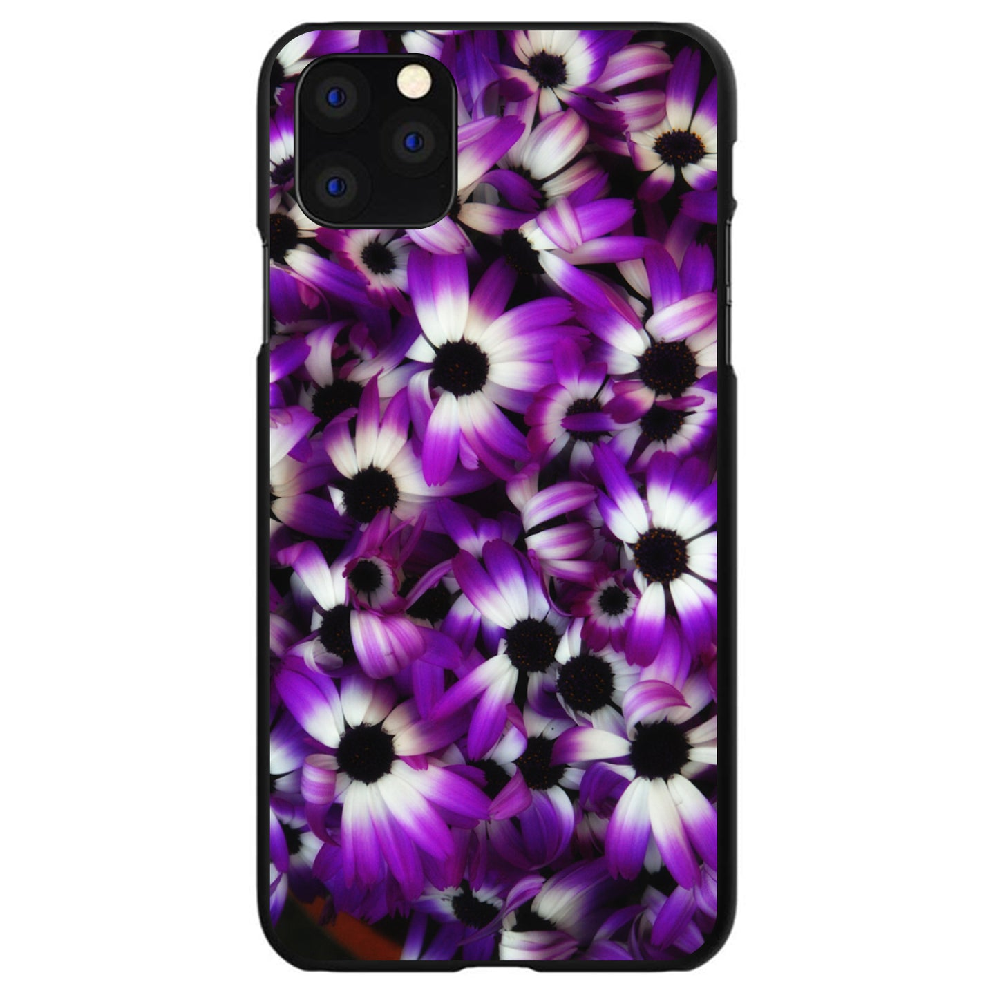 DistinctInk® Hard Plastic Snap-On Case for Apple iPhone - Purple White Black Flowers