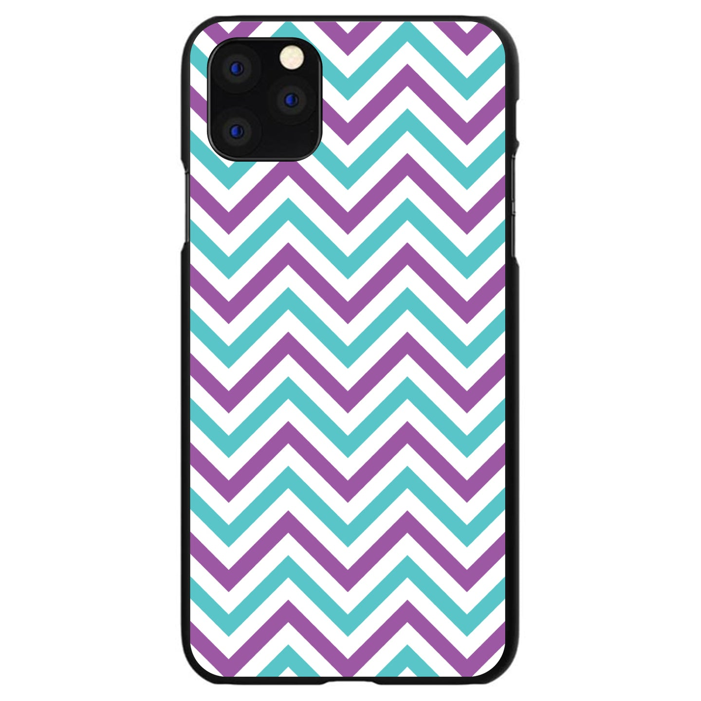 DistinctInk® Hard Plastic Snap-On Case for Apple iPhone - Purple Teal Chevron Stripes