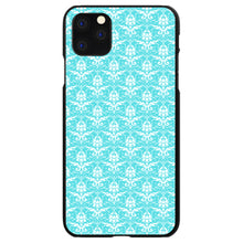 DistinctInk® Hard Plastic Snap-On Case for Apple iPhone - Baby Blue White Damask Pattern