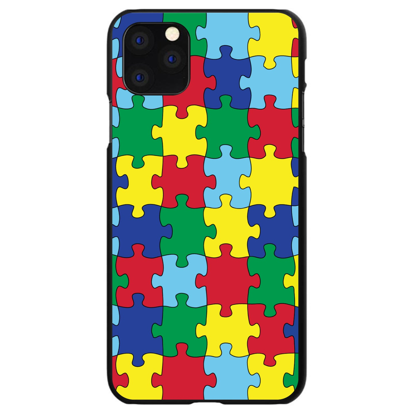 DistinctInk® Hard Plastic Snap-On Case for Apple iPhone - Primary Color Puzzle Pieces Autism