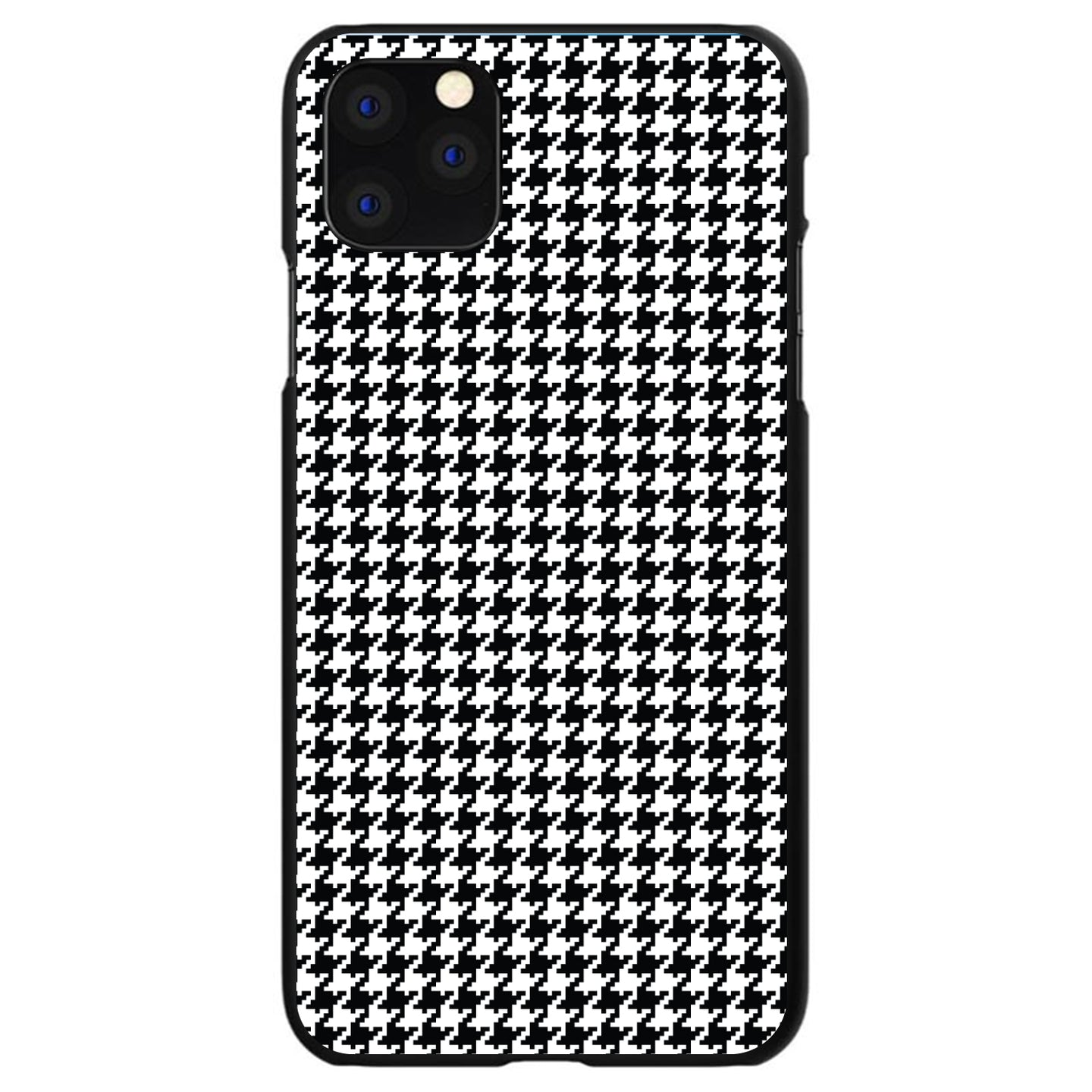 DistinctInk® Hard Plastic Snap-On Case for Apple iPhone - Black White Houndstooth Pattern