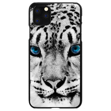 DistinctInk® Hard Plastic Snap-On Case for Apple iPhone - Snow Leopard Blue Eyes