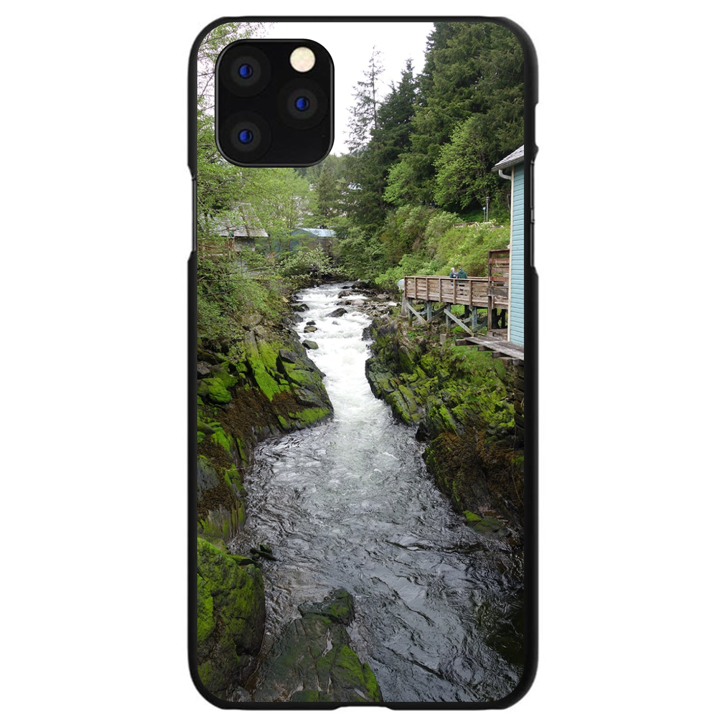 DistinctInk® Hard Plastic Snap-On Case for Apple iPhone - Ketchikan Alaska Stream