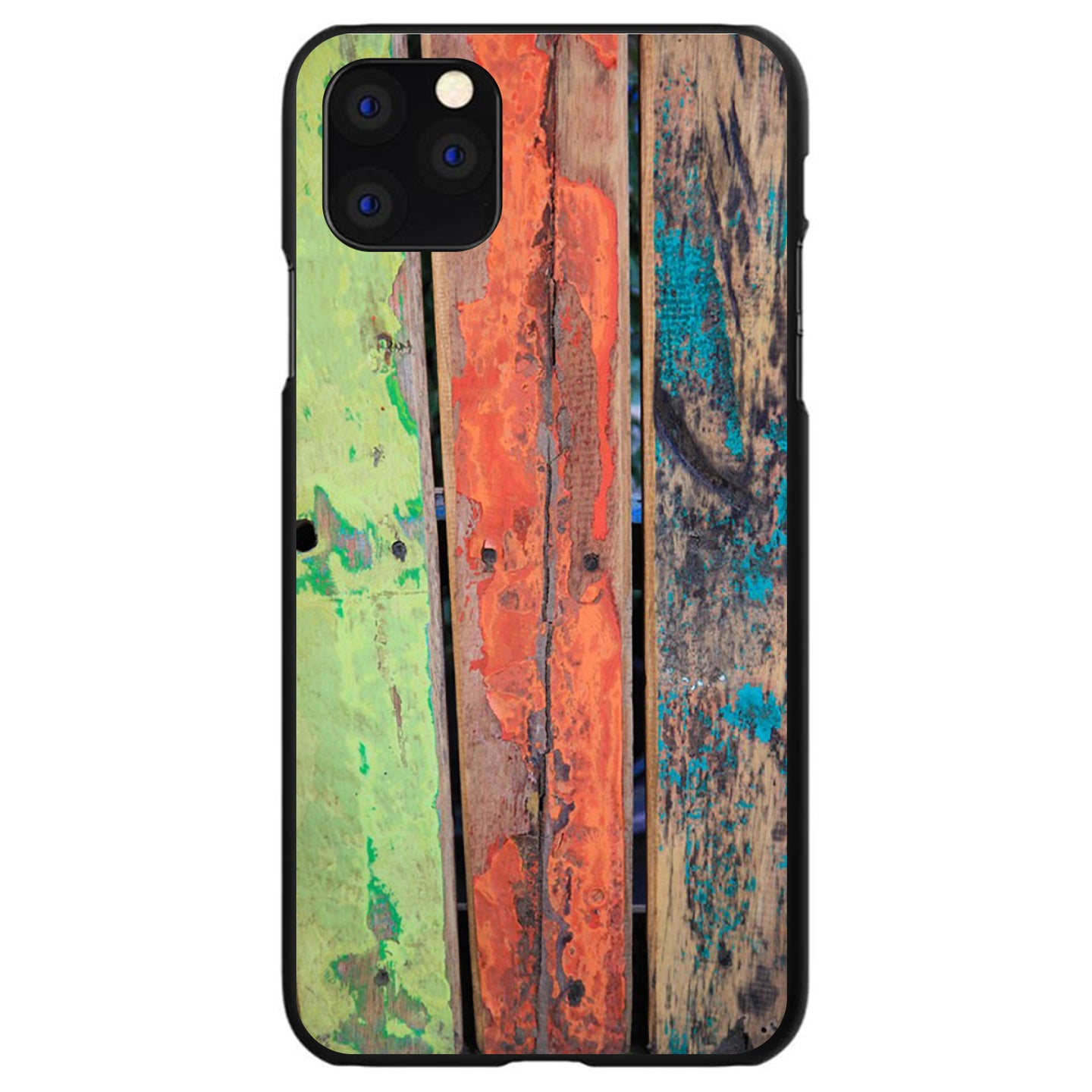 DistinctInk® Hard Plastic Snap-On Case for Apple iPhone - Rough Painted Wood