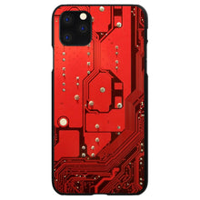 DistinctInk® Hard Plastic Snap-On Case for Apple iPhone - Red Circuit Board