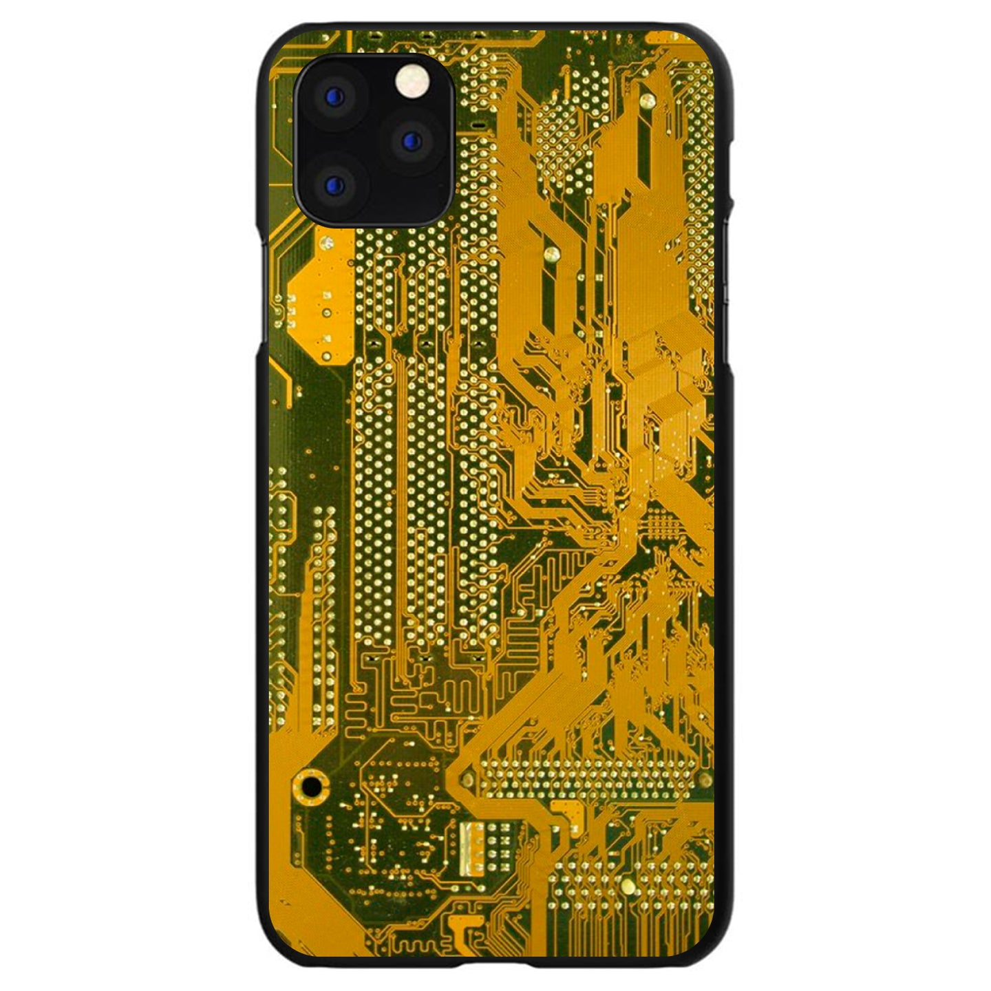 DistinctInk® Hard Plastic Snap-On Case for Apple iPhone - Yellow Circuit Board