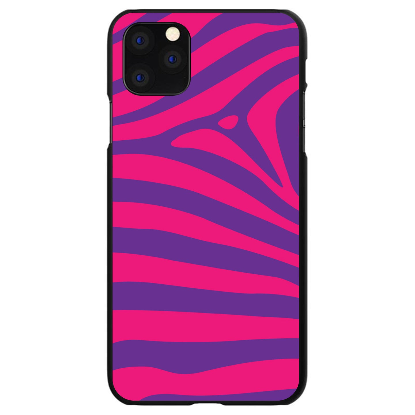 DistinctInk® Hard Plastic Snap-On Case for Apple iPhone - Purple Hot Pink Zebra Skin Stripes