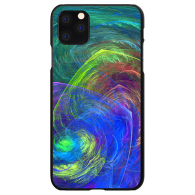 DistinctInk Black Hard Snap-On Case for Apple iPhone 5 / 5S / SE - Abstract Color Light Swirl
