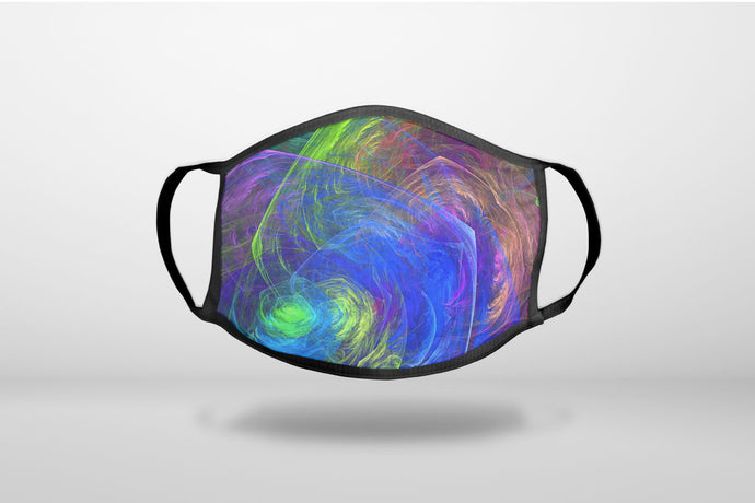 Abstract Color Light Swirl - 3-Ply Reusable Soft Face Mask Covering, Unisex, Cotton Inner Layer