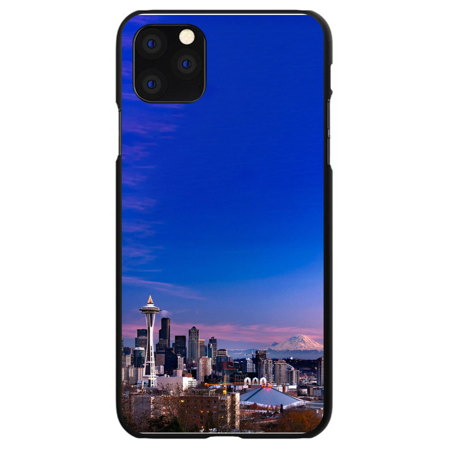 DistinctInk® Hard Plastic Snap-On Case for Apple iPhone - Seattle Skyline Night