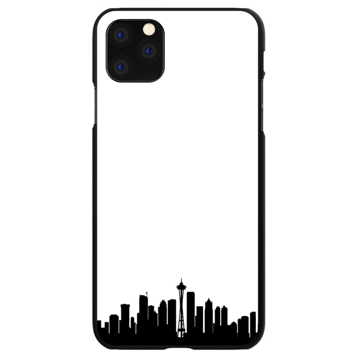 DistinctInk® Hard Plastic Snap-On Case for Apple iPhone - Seattle Skyline Silhouette