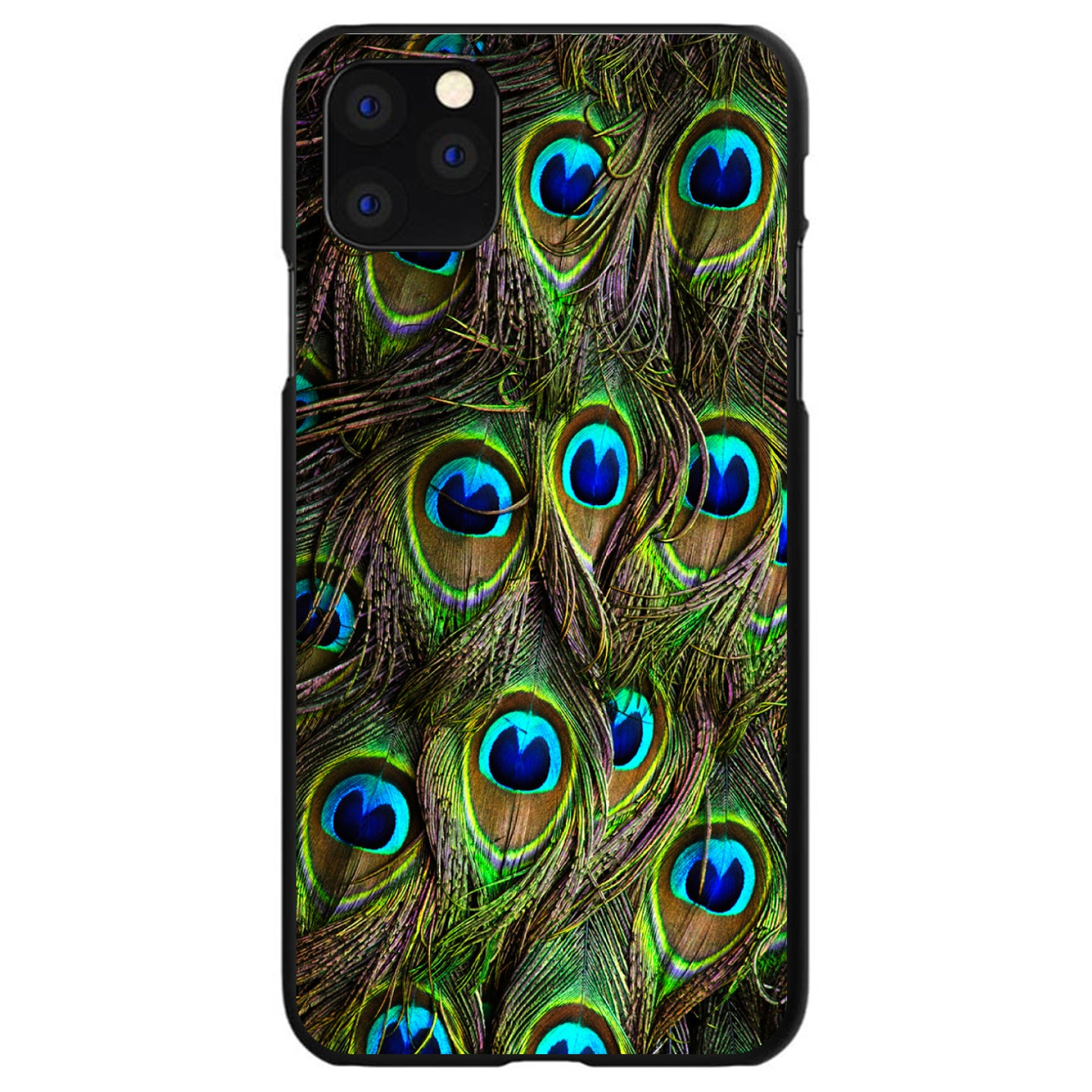 DistinctInk® Hard Plastic Snap-On Case for Apple iPhone - Peacock Feathers