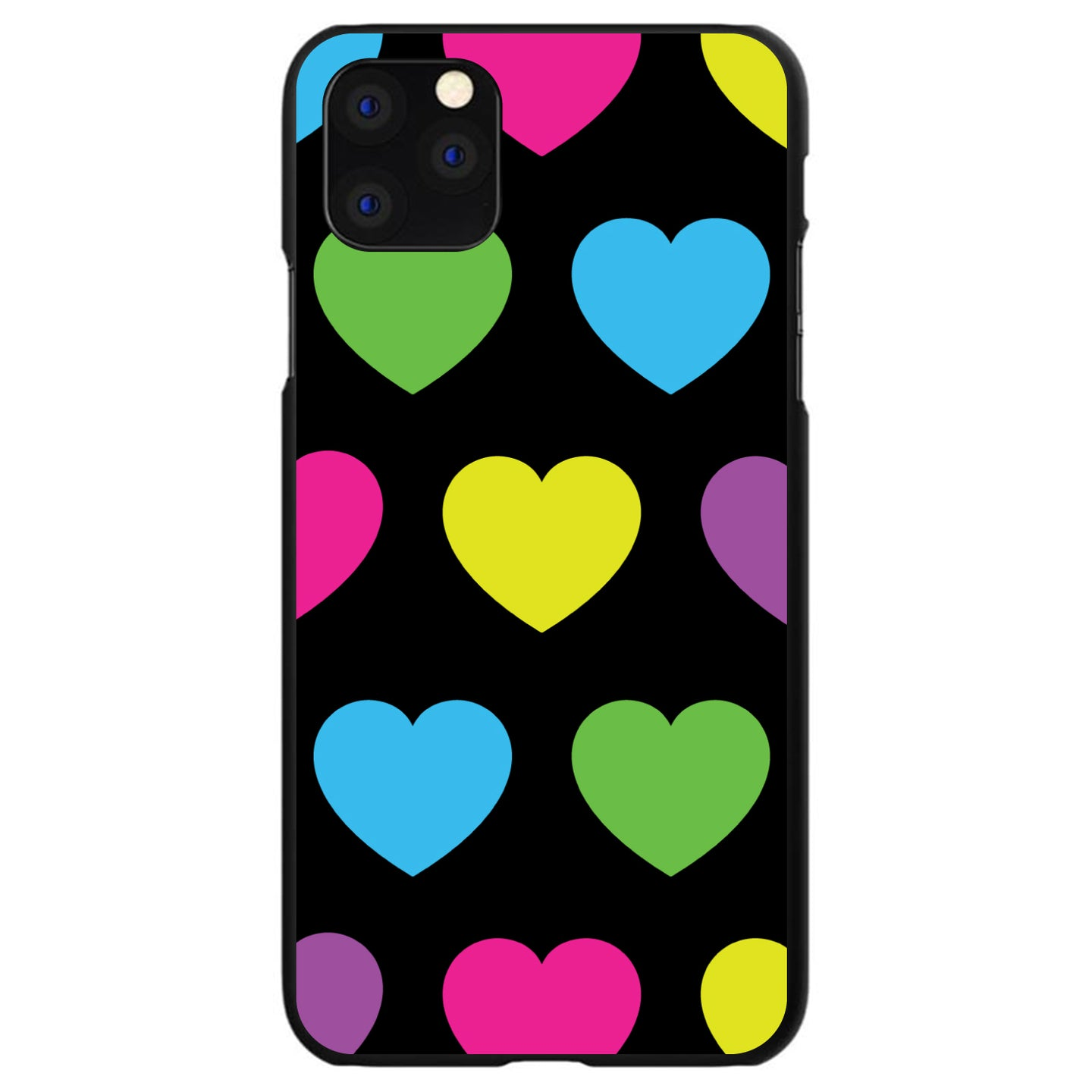 DistinctInk® Hard Plastic Snap-On Case for Apple iPhone - Black Multi Color Hearts