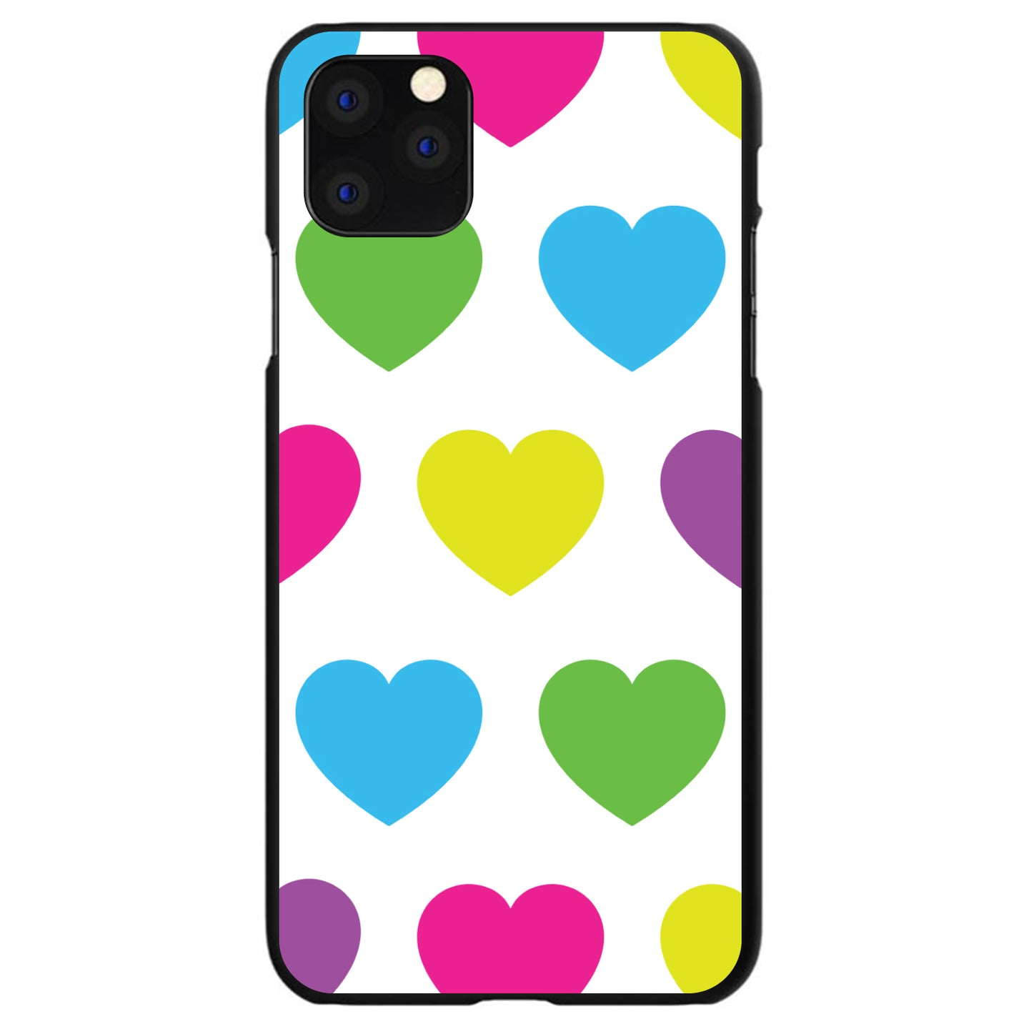 DistinctInk® Hard Plastic Snap-On Case for Apple iPhone - White Multi Color Hearts