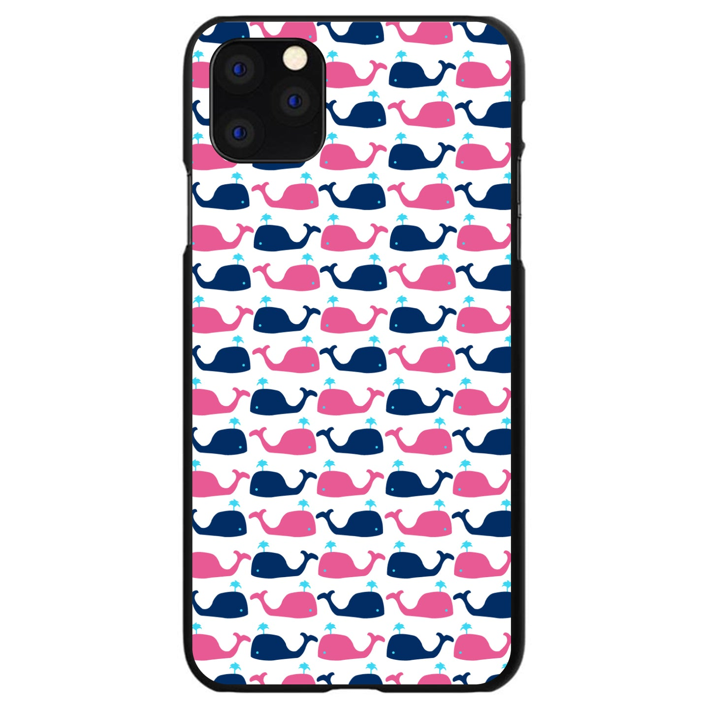 DistinctInk® Hard Plastic Snap-On Case for Apple iPhone - Pink Navy Cartoon Whales