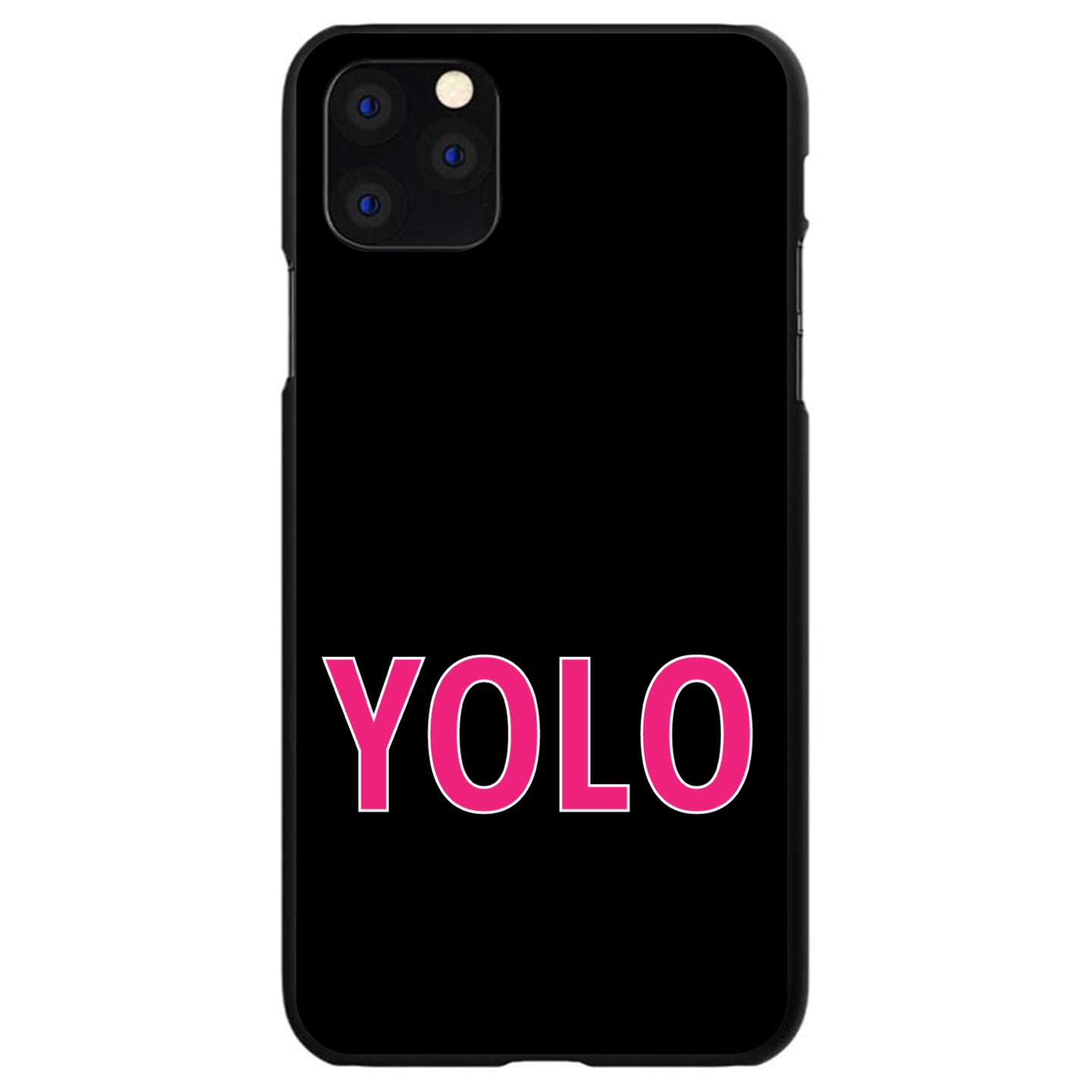 DistinctInk® Hard Plastic Snap-On Case for Apple iPhone - Black Pink YOLO
