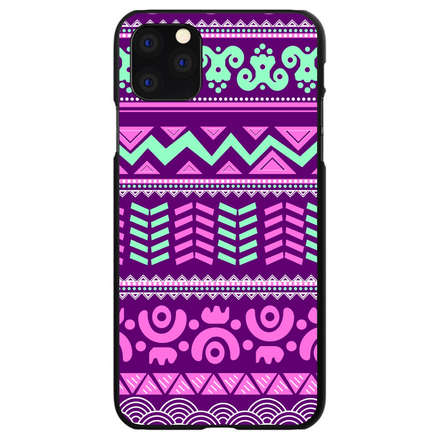 DistinctInk® Hard Plastic Snap-On Case for Apple iPhone - Pink Green Aztec Tribal