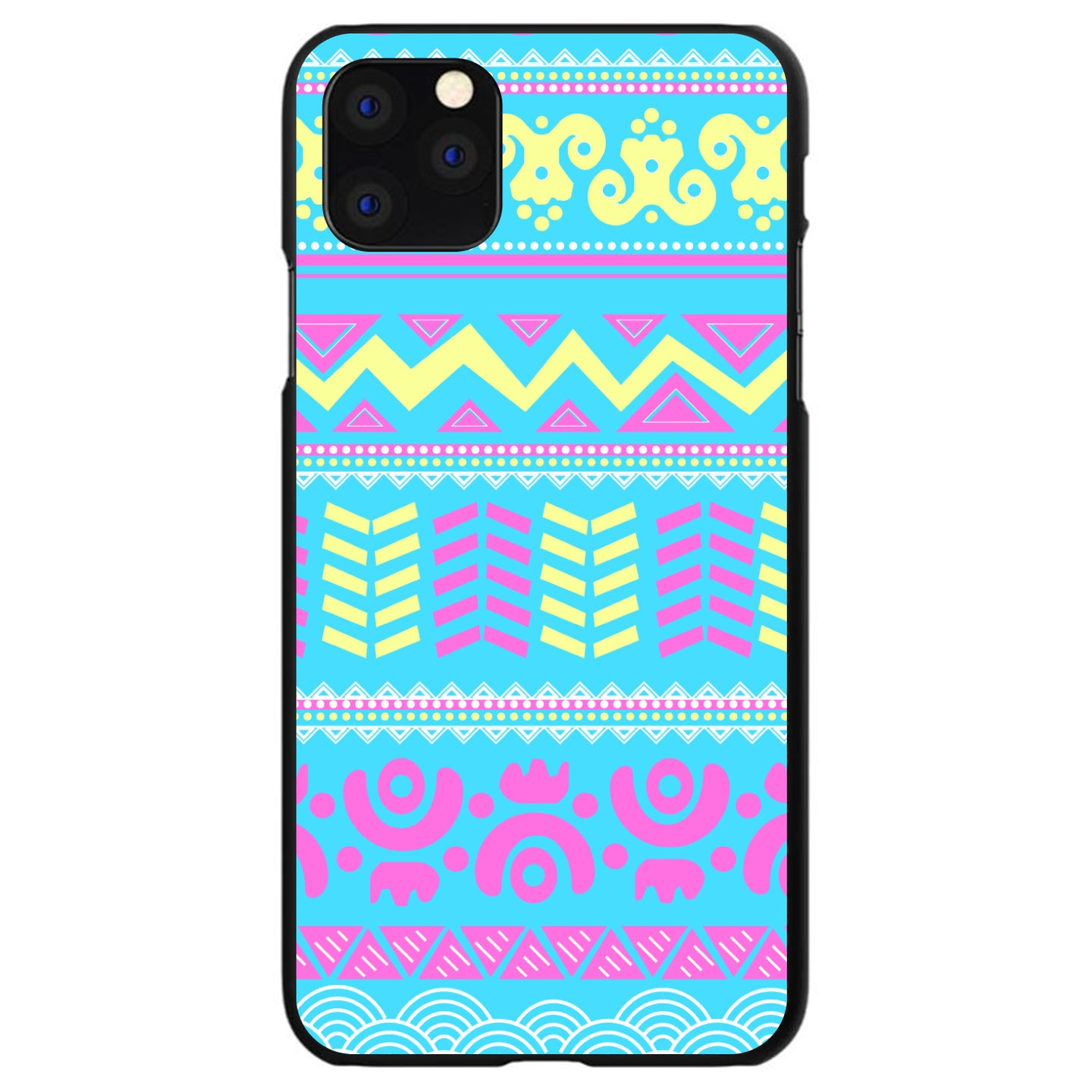 DistinctInk® Hard Plastic Snap-On Case for Apple iPhone - Yellow Pink Blue Aztec Tribal