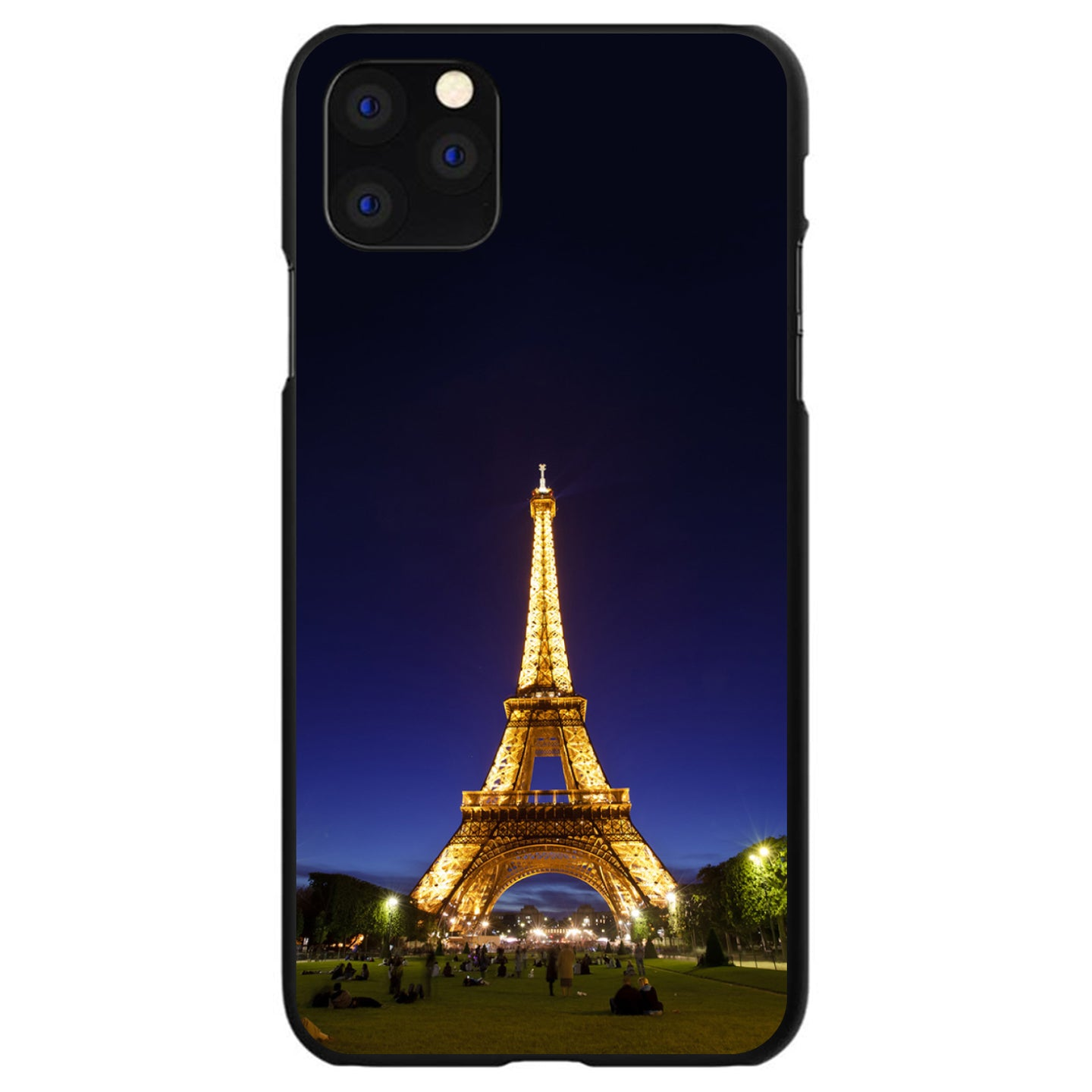 DistinctInk® Hard Plastic Snap-On Case for Apple iPhone - Eiffel Tower Paris Night