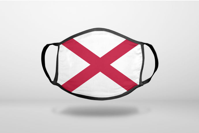 Alabama State Flag - 3-Ply Reusable Soft Face Mask Covering, Unisex, Cotton Inner Layer