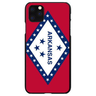 DistinctInk Black Hard Snap-On Case for Apple iPhone 5 / 5S / SE - Arkansas State Flag