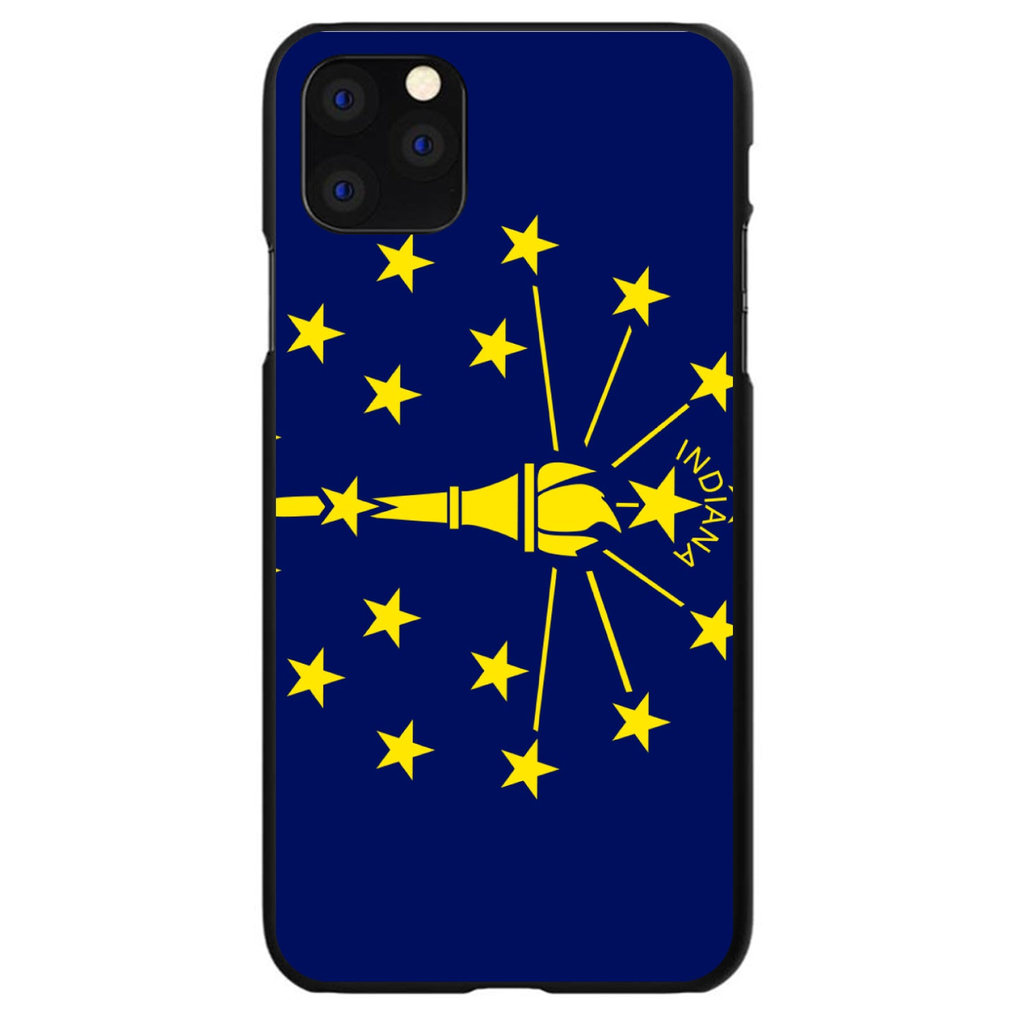 DistinctInk® Hard Plastic Snap-On Case for Apple iPhone - Indiana State Flag