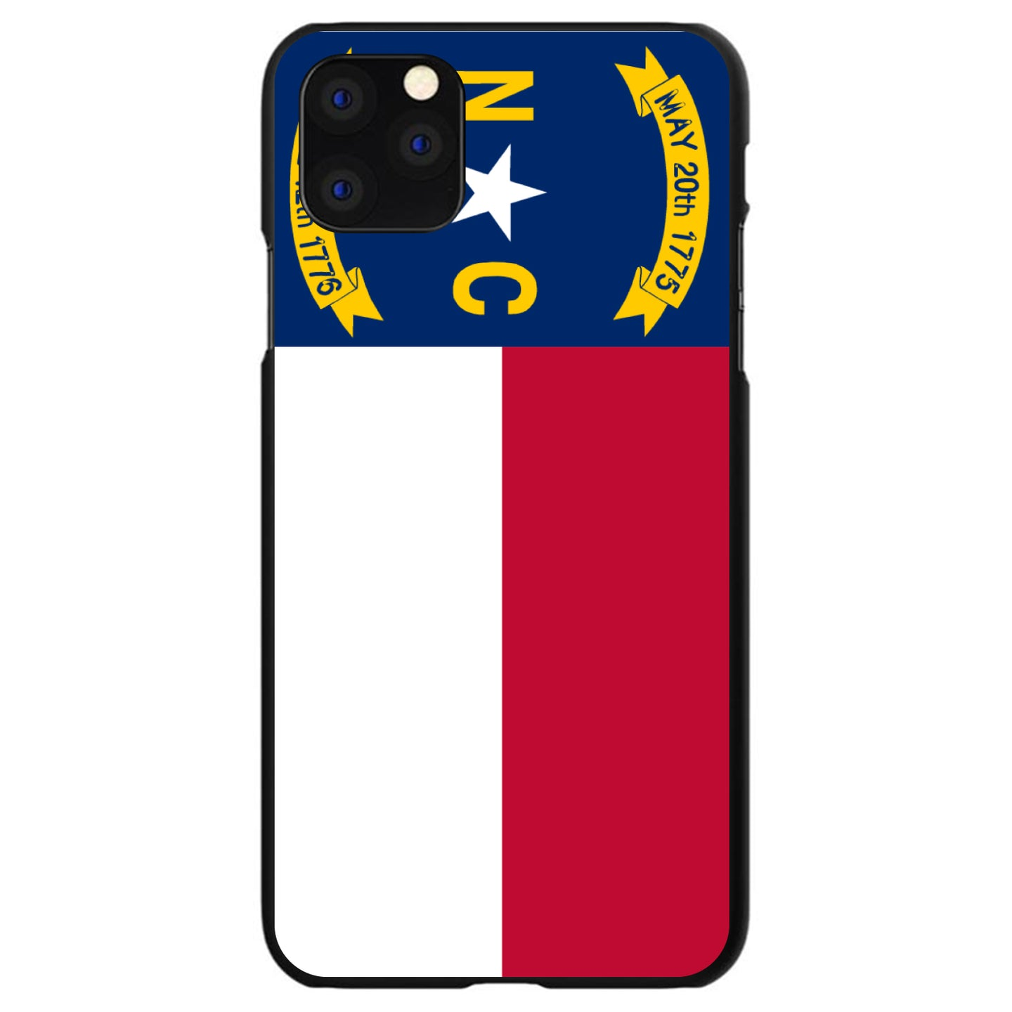 DistinctInk® Hard Plastic Snap-On Case for Apple iPhone - North Carolina State Flag
