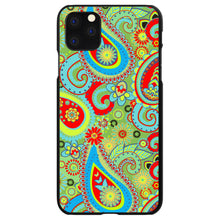 DistinctInk® Hard Plastic Snap-On Case for Apple iPhone - Green Red Blue Paisley