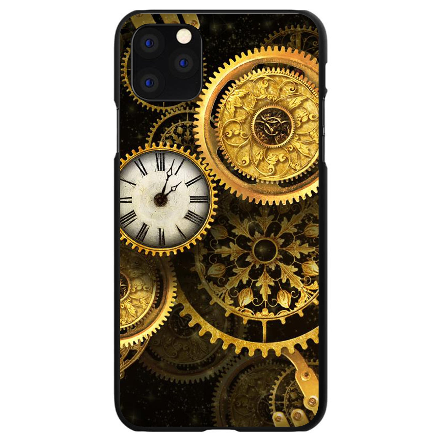 DistinctInk® Hard Plastic Snap-On Case for Apple iPhone - Clocks Clockwork Gold