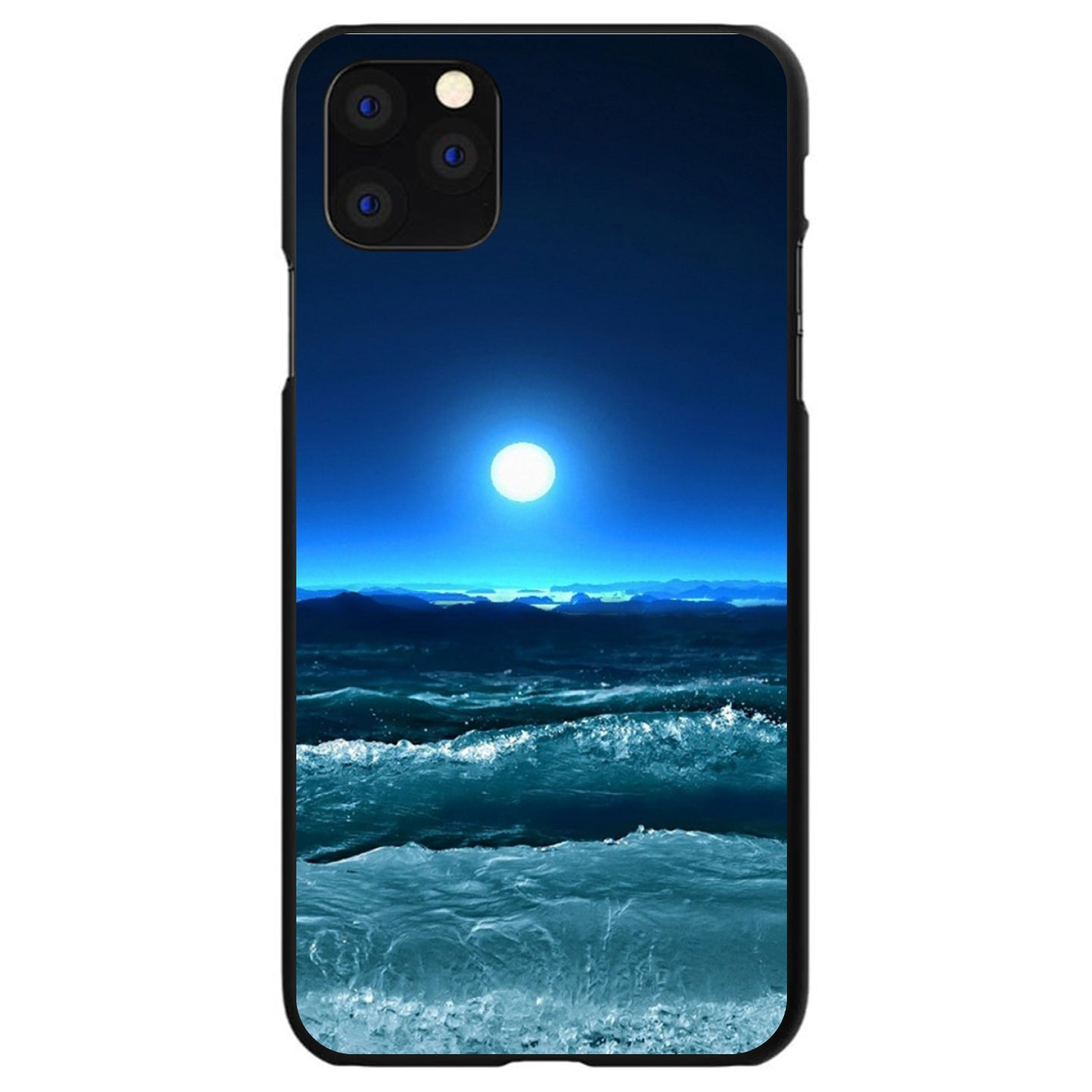 DistinctInk® Hard Plastic Snap-On Case for Apple iPhone - Moonlit Ocean Waves