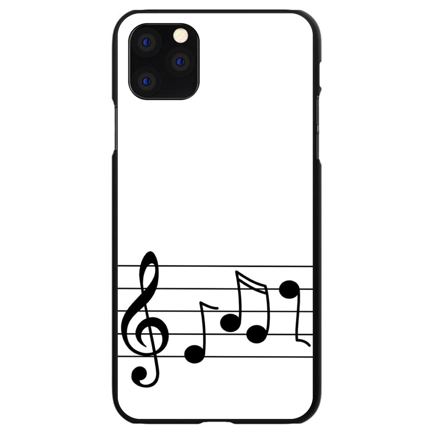 DistinctInk® Hard Plastic Snap-On Case for Apple iPhone - Treble Staff Music Notes