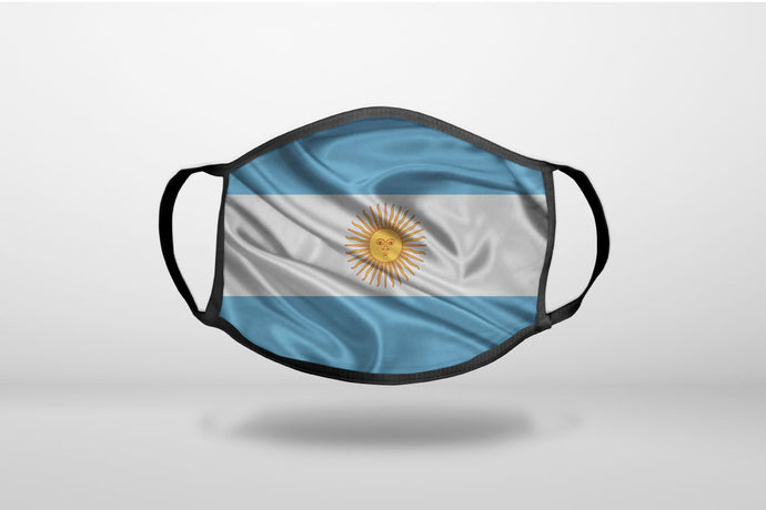 Argentina Waving Flag - 3-Ply Reusable Soft Face Mask Covering, Unisex, Cotton Inner Layer