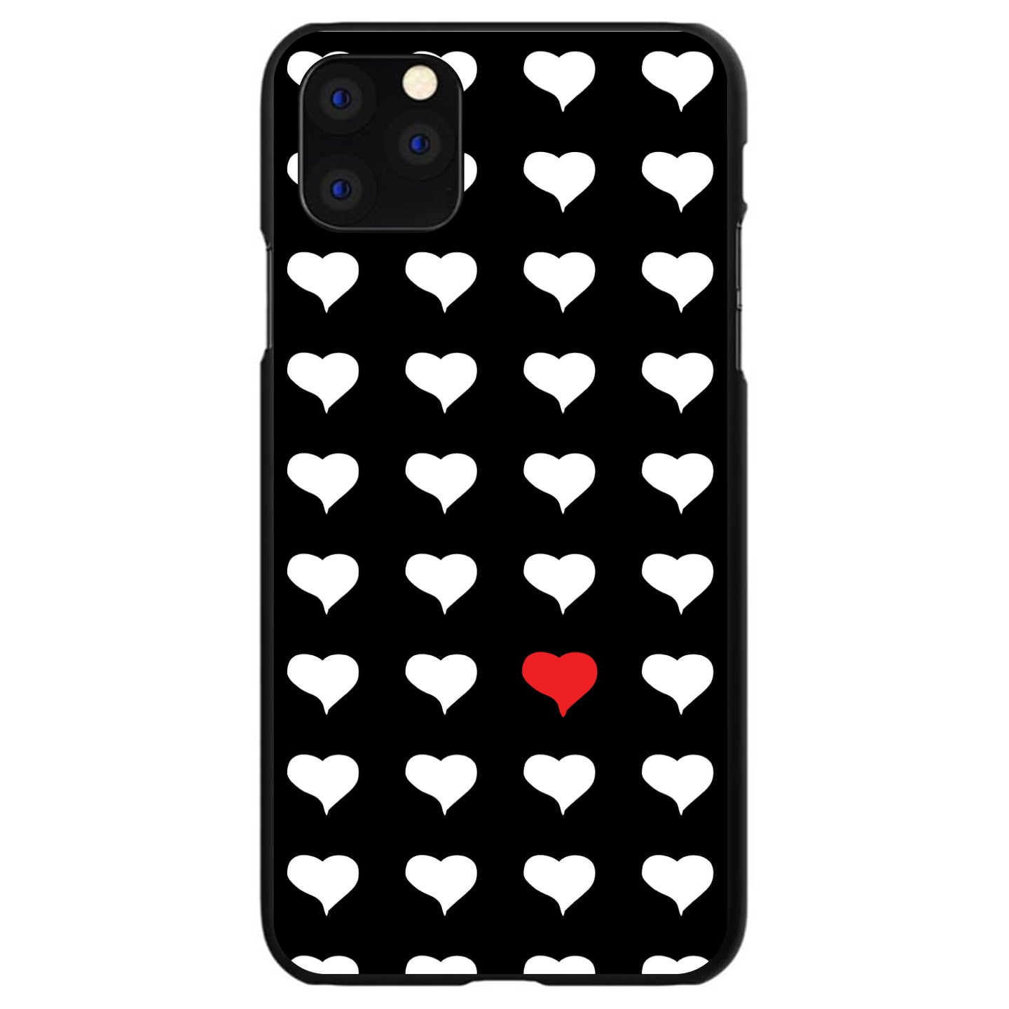 DistinctInk® Hard Plastic Snap-On Case for Apple iPhone - Red White Black Repeating Hearts