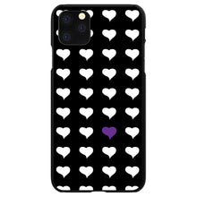 DistinctInk® Hard Plastic Snap-On Case for Apple iPhone - Purple White Black Repeating Hearts